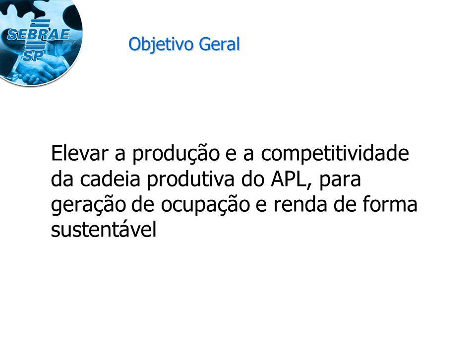 Objetivo Geral Elevar a produção e a competitividade da cadeia produtiva do APL, para geração de ocupação e renda de forma sustentável