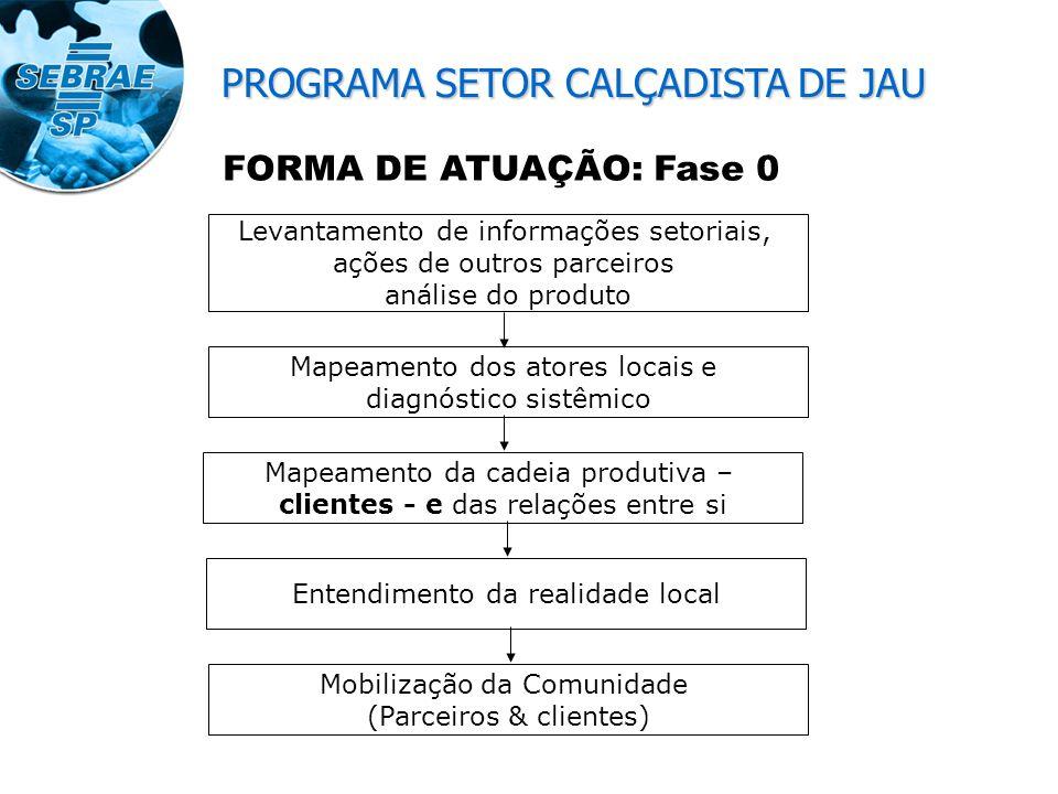FORMA DE ATUAÇÃO: Fase 1 – Ouvir o Cliente Diagnósticos, pp, FOFA Fase 2 – Estruturar o atendimento (curto/médio/ longo) Fase 3 – Busca de recursos /executores Fase 4 – iniciar atendimentos Mobilização da Comunidade (Parceiros & clientes) PROGRAMA SETOR CALÇADISTA DE JAU
