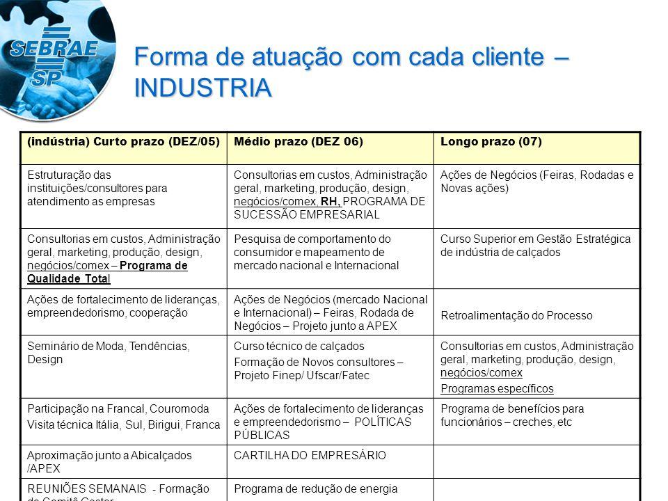 Forma de atuação com cada cliente – INDUSTRIA (indústria) Curto prazo (DEZ/05)Médio prazo (DEZ 06)Longo prazo (07) Estruturação das instituições/consultores para atendimento as empresas Consultorias em custos, Administração geral, marketing, produção, design, negócios/comex, RH, PROGRAMA DE SUCESSÃO EMPRESARIAL Ações de Negócios (Feiras, Rodadas e Novas ações) Consultorias em custos, Administração geral, marketing, produção, design, negócios/comex – Programa de Qualidade Total Pesquisa de comportamento do consumidor e mapeamento de mercado nacional e Internacional Curso Superior em Gestão Estratégica de indústria de calçados Ações de fortalecimento de lideranças, empreendedorismo, cooperação Ações de Negócios (mercado Nacional e Internacional) – Feiras, Rodada de Negócios – Projeto junto a APEX Retroalimentação do Processo Seminário de Moda, Tendências, Design Curso técnico de calçados Formação de Novos consultores – Projeto Finep/ Ufscar/Fatec Consultorias em custos, Administração geral, marketing, produção, design, negócios/comex Programas específicos Participação na Francal, Couromoda Visita técnica Itália, Sul, Birigui, Franca Ações de fortalecimento de lideranças e empreendedorismo – POLÍTICAS PÚBLICAS Programa de benefícios para funcionários – creches, etc Aproximação junto a Abicalçados /APEX CARTILHA DO EMPRESÁRIO REUNIÕES SEMANAIS - Formação do Comitê Gestor Programa de redução de energia
