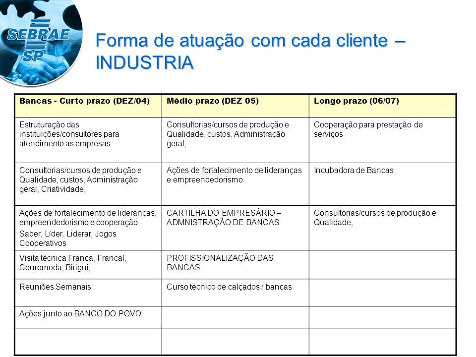 Bancas - Curto prazo (DEZ/04)Médio prazo (DEZ 05)Longo prazo (06/07) Estruturação das instituições/consultores para atendimento as empresas Consultori
