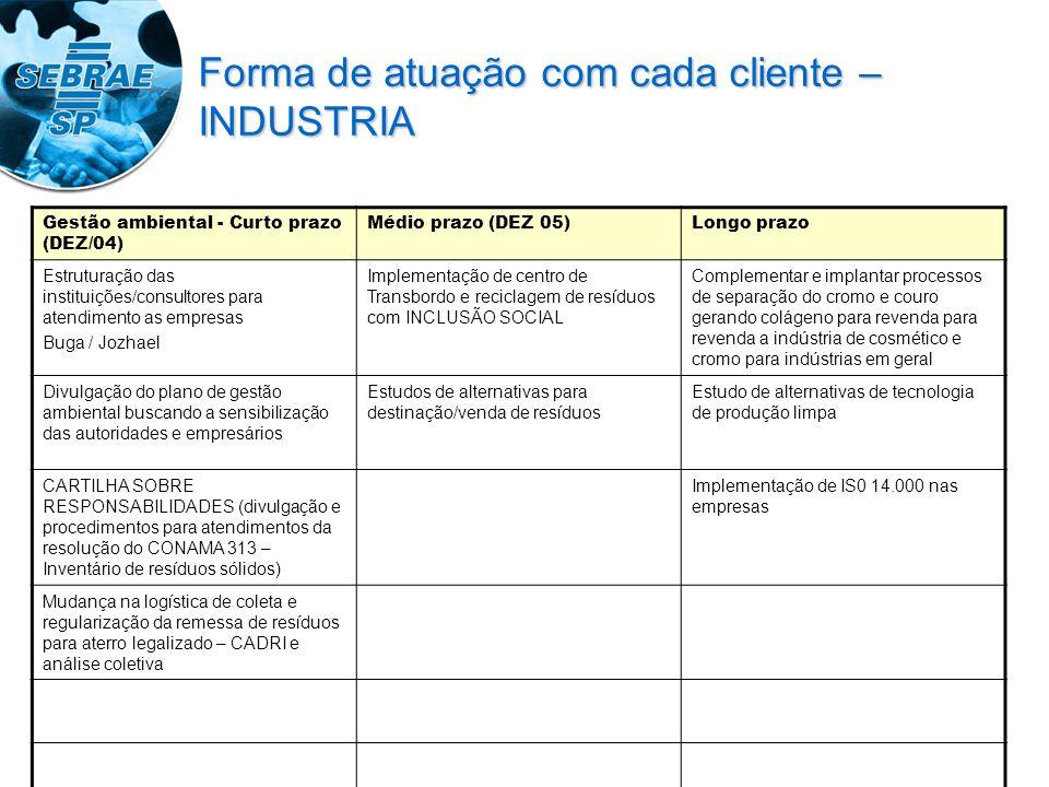 Gestão ambiental - Curto prazo (DEZ/04) Médio prazo (DEZ 05)Longo prazo Estruturação das instituições/consultores para atendimento as empresas Buga /