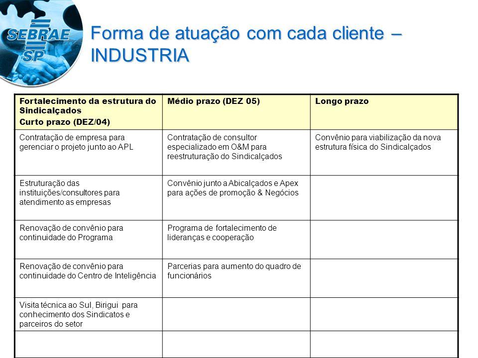 Fortalecimento da estrutura do Sindicalçados Curto prazo (DEZ/04) Médio prazo (DEZ 05)Longo prazo Contratação de empresa para gerenciar o projeto junt