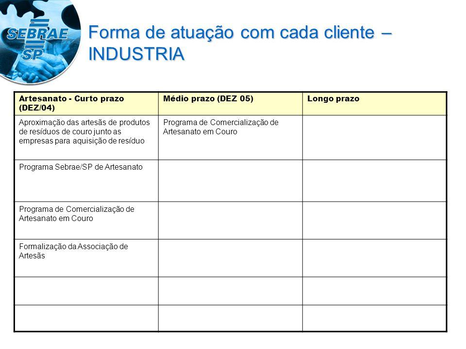 Artesanato - Curto prazo (DEZ/04) Médio prazo (DEZ 05)Longo prazo Aproximação das artesãs de produtos de resíduos de couro junto as empresas para aqui