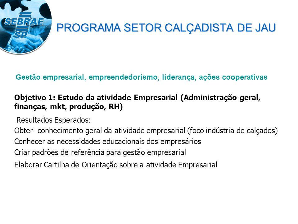 Objetivo 1: Estudo da atividade Empresarial (Administração geral, finanças, mkt, produção, RH) Resultados Esperados: Obter conhecimento geral da ativi