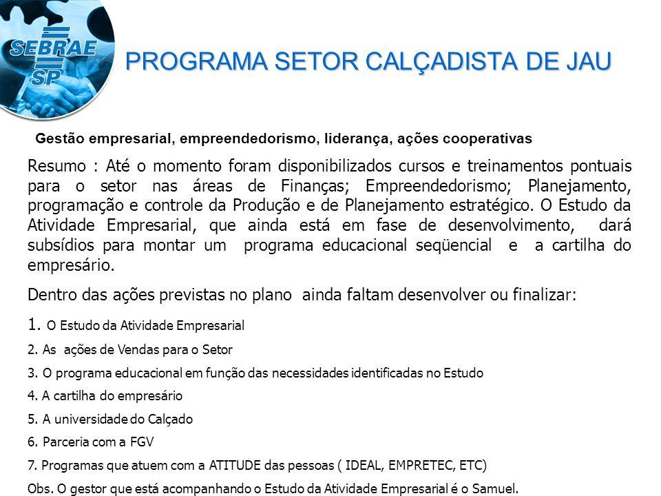 Resumo : Até o momento foram disponibilizados cursos e treinamentos pontuais para o setor nas áreas de Finanças; Empreendedorismo; Planejamento, progr