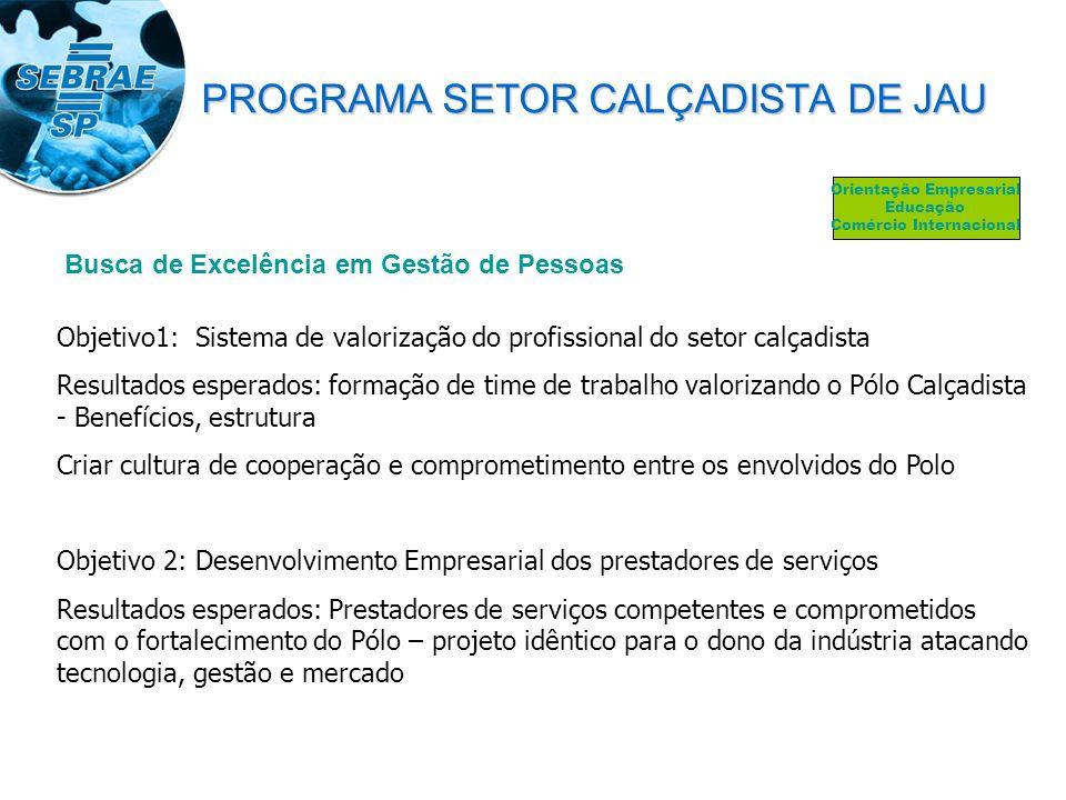 Busca de Excelência em Gestão de Pessoas Objetivo1: Sistema de valorização do profissional do setor calçadista Resultados esperados: formação de time