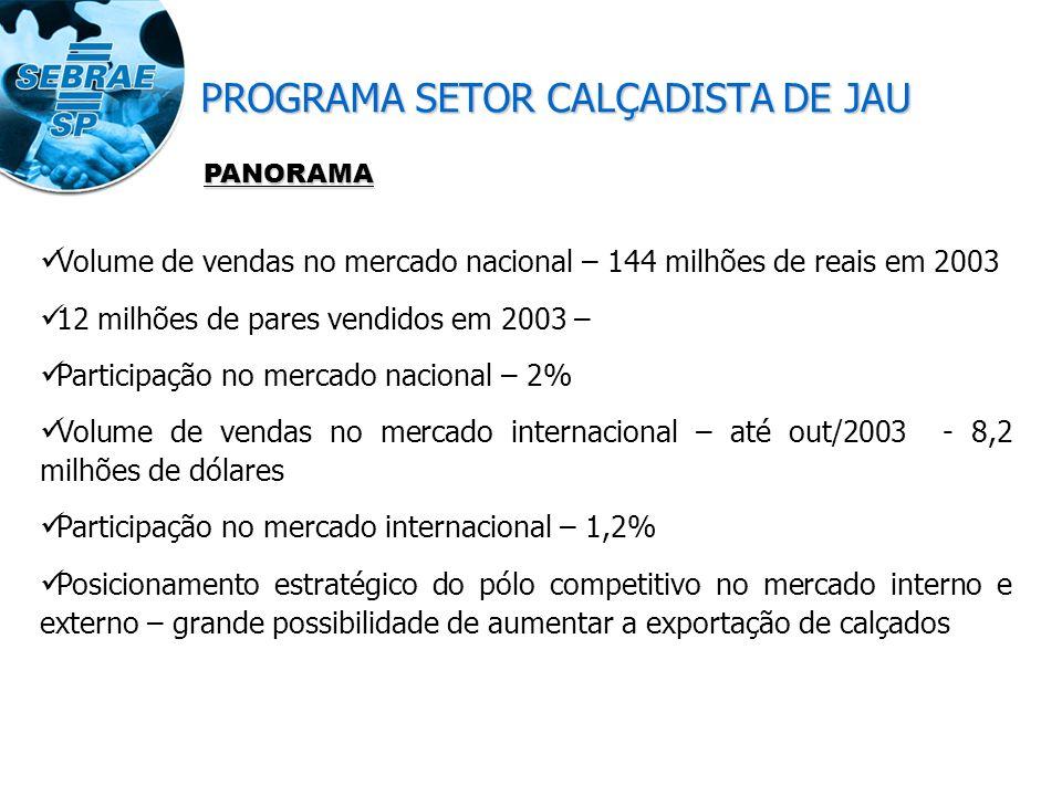 Volume de vendas no mercado nacional – 144 milhões de reais em 2003 12 milhões de pares vendidos em 2003 – Participação no mercado nacional – 2% Volume de vendas no mercado internacional – até out/2003 - 8,2 milhões de dólares Participação no mercado internacional – 1,2% Posicionamento estratégico do pólo competitivo no mercado interno e externo – grande possibilidade de aumentar a exportação de calçados PANORAMA PROGRAMA SETOR CALÇADISTA DE JAU