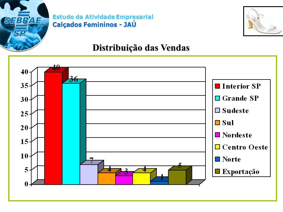 Estudo da Atividade Empresarial Calçados Femininos - JAÚ Distribuição das Vendas