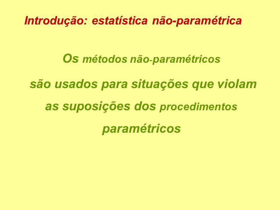Os métodos não - paramétricos são usados para situações que violam as suposições dos procedimentos paramétricos Introdução: estatística não-paramétrica