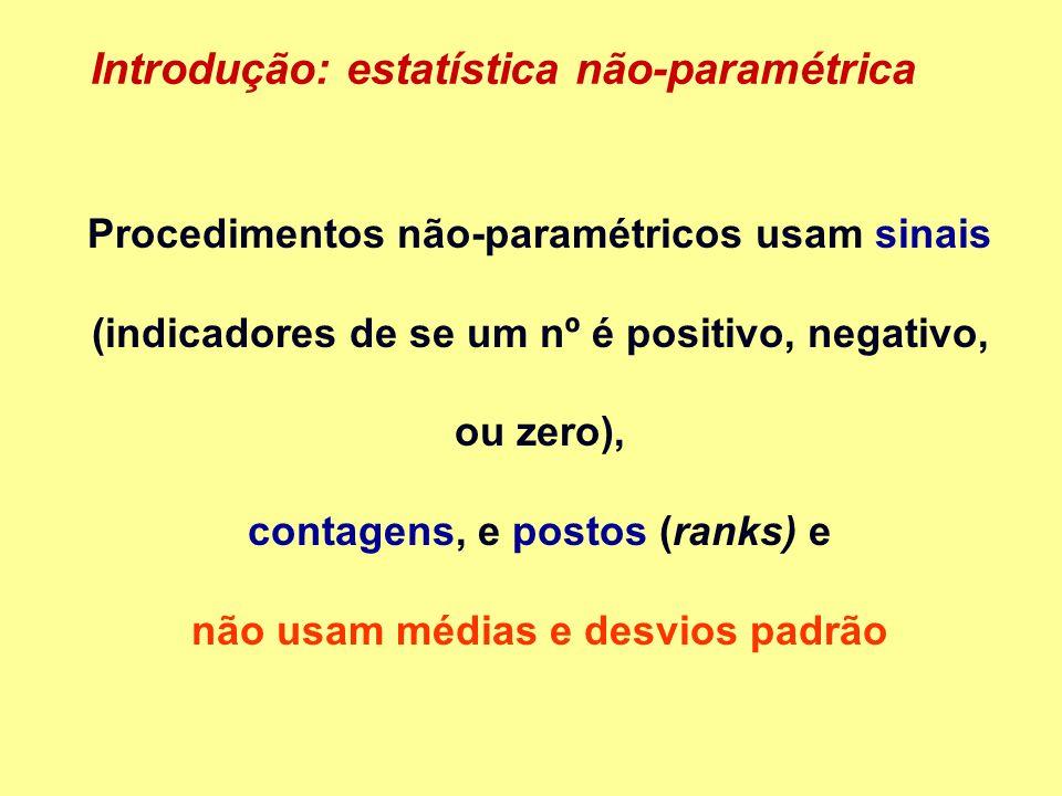 Procedimentos não-paramétricos usam sinais (indicadores de se um nº é positivo, negativo, ou zero), contagens, e postos (ranks) e não usam médias e desvios padrão Introdução: estatística não-paramétrica