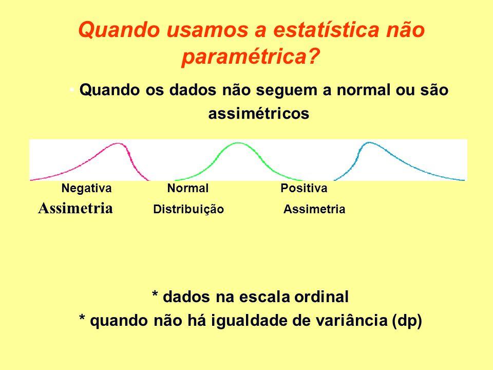 Quando os dados não seguem a normal ou são assimétricos Quando usamos a estatística não paramétrica? Negativa NormalPositiva Assimetria Distribuição A
