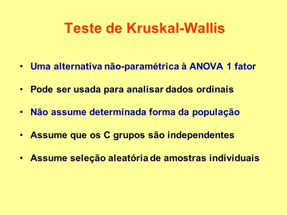 Teste de Kruskal-Wallis Uma alternativa não-paramétrica à ANOVA 1 fator Pode ser usada para analisar dados ordinais Não assume determinada forma da população Assume que os C grupos são independentes Assume seleção aleatória de amostras individuais