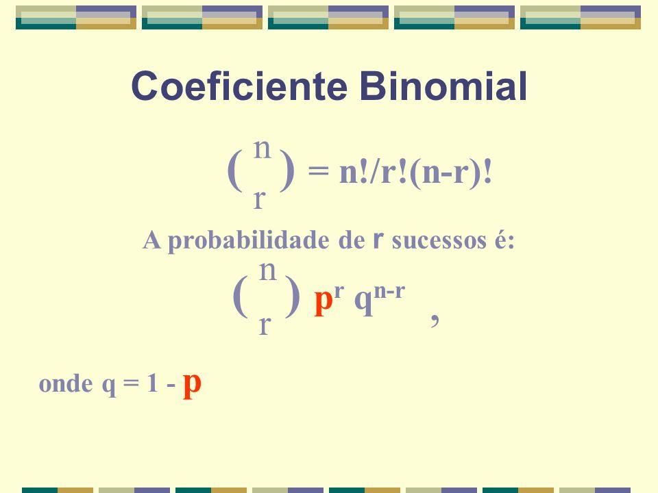 Coeficiente Binomial ( ) = n!/r!(n-r)! n r A probabilidade de r sucessos é: ( ) p r q n-r r n onde q = 1 - p,