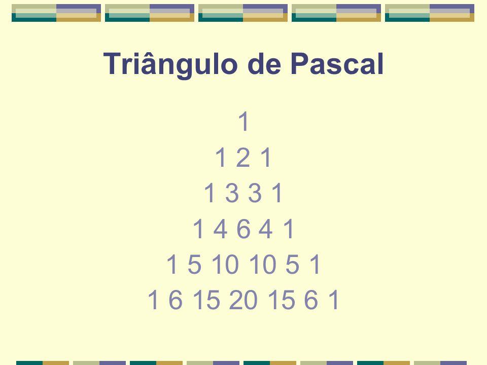 Triângulo de Pascal 1 1 2 1 1 3 3 1 1 4 6 4 1 1 5 10 10 5 1 1 6 15 20 15 6 1