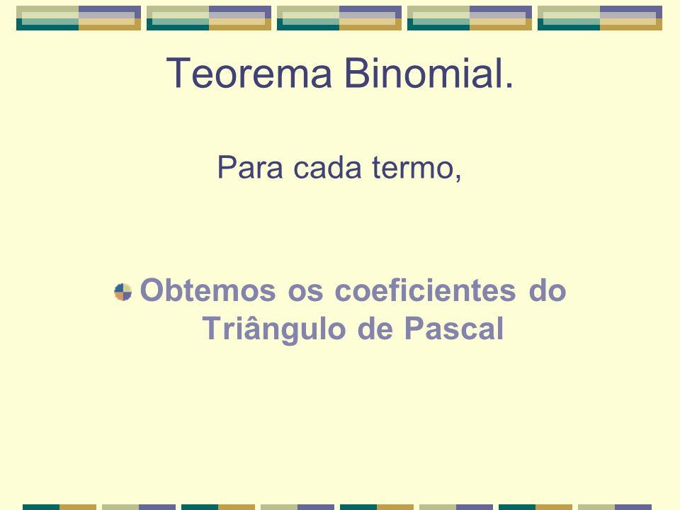 Teorema Binomial. Para cada termo, Obtemos os coeficientes do Triângulo de Pascal