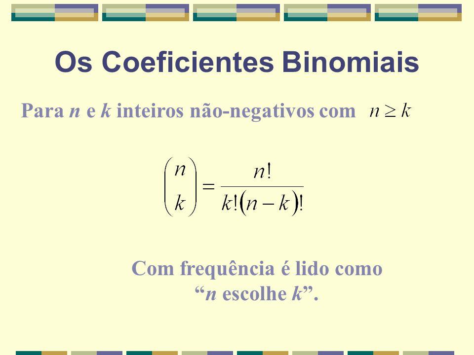 Os Coeficientes Binomiais Para n e k inteiros não-negativos com Com frequência é lido comon escolhe k.