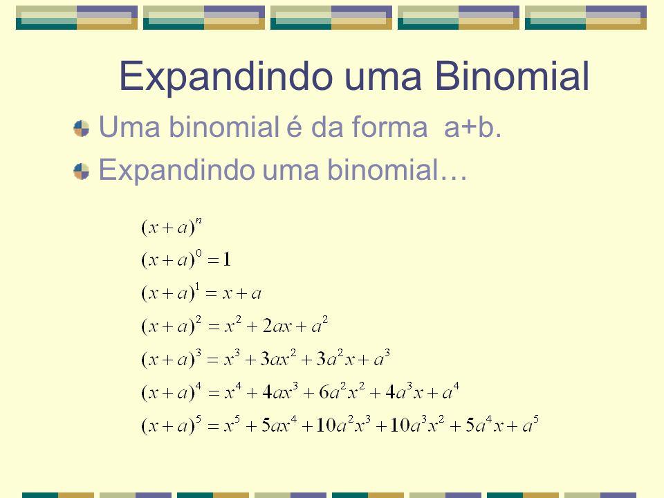 Expandindo uma Binomial Uma binomial é da forma a+b. Expandindo uma binomial…