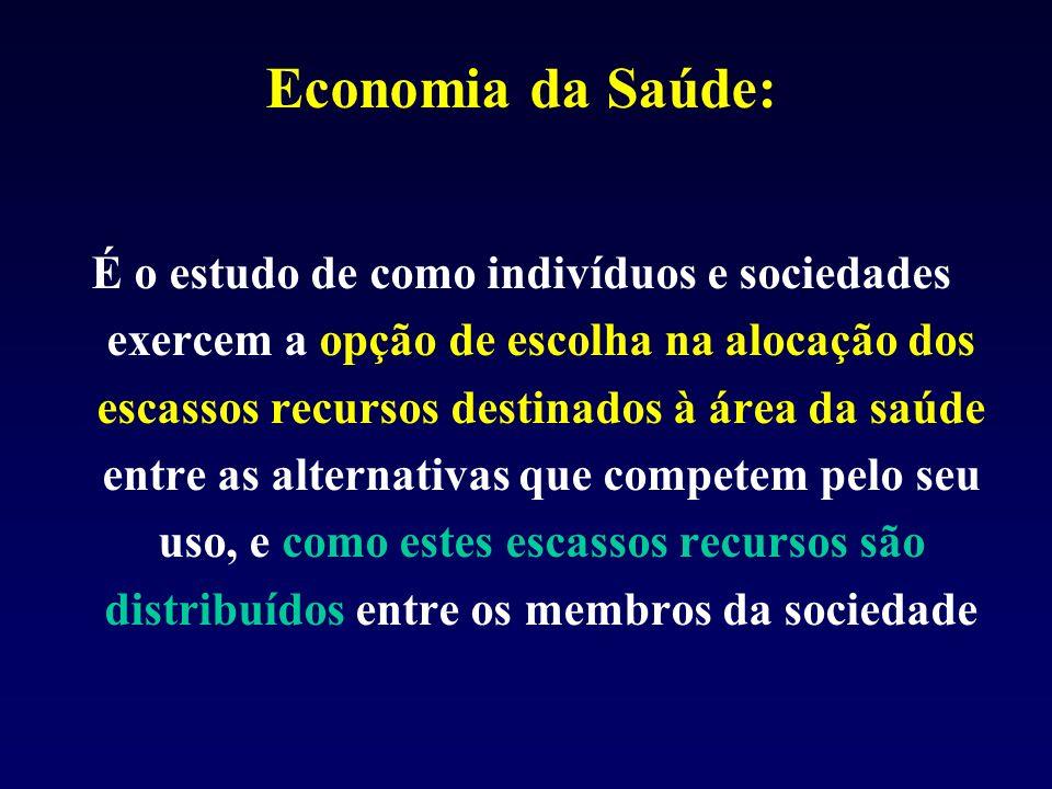 Economia da Saúde: É o estudo de como indivíduos e sociedades exercem a opção de escolha na alocação dos escassos recursos destinados à área da saúde