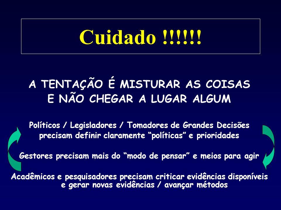 Cuidado !!!!!! A TENTAÇÃO É MISTURAR AS COISAS E NÃO CHEGAR A LUGAR ALGUM Políticos / Legisladores / Tomadores de Grandes Decisões precisam definir cl