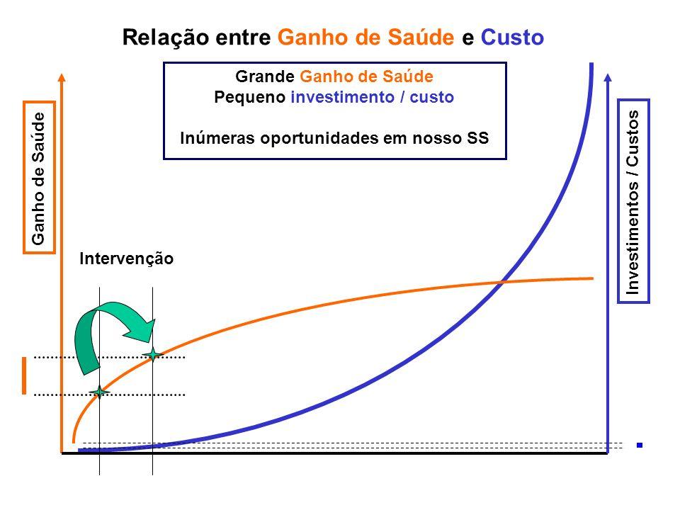 Ganho de Saúde Investimentos / Custos Grande Ganho de Saúde Pequeno investimento / custo Inúmeras oportunidades em nosso SS Intervenção Relação entre