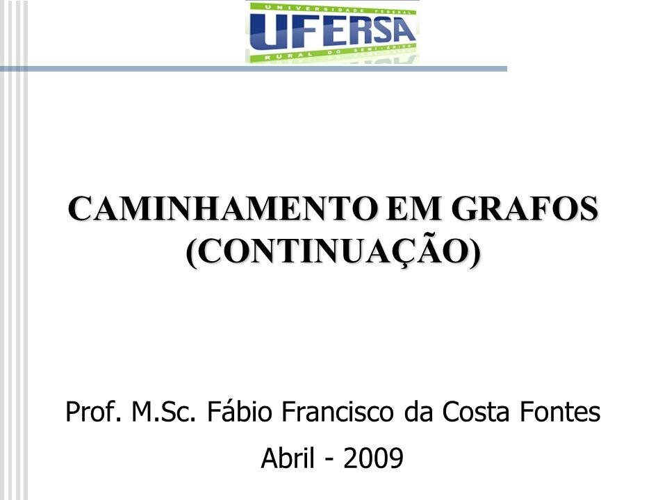 CAMINHAMENTO EM GRAFOS (CONTINUAÇÃO) Prof. M.Sc. Fábio Francisco da Costa Fontes Abril - 2009