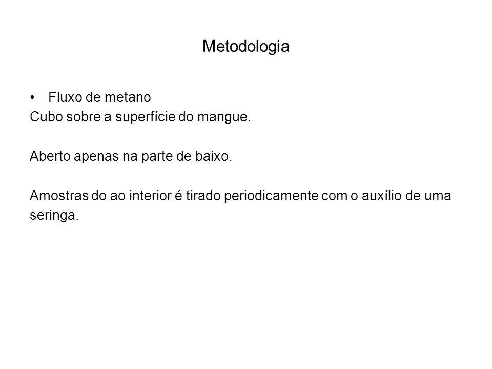 Metodologia Fluxo de metano Cubo sobre a superfície do mangue. Aberto apenas na parte de baixo. Amostras do ao interior é tirado periodicamente com o