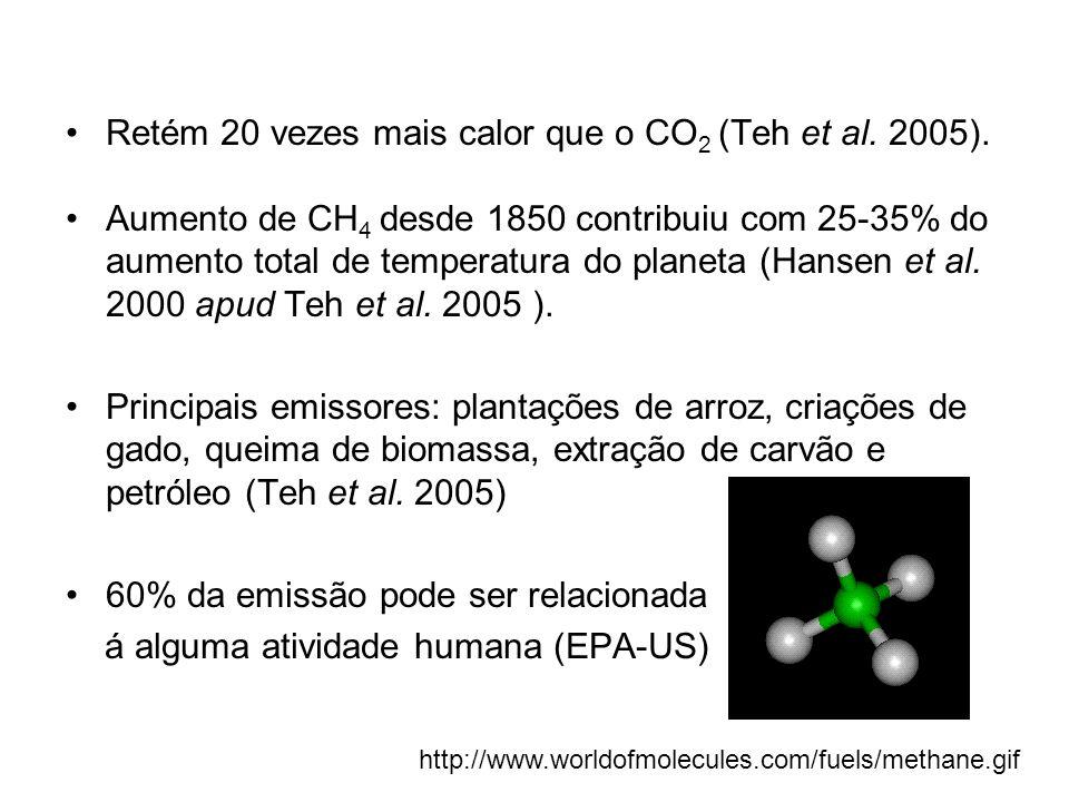 Retém 20 vezes mais calor que o CO 2 (Teh et al. 2005). Aumento de CH 4 desde 1850 contribuiu com 25-35% do aumento total de temperatura do planeta (H
