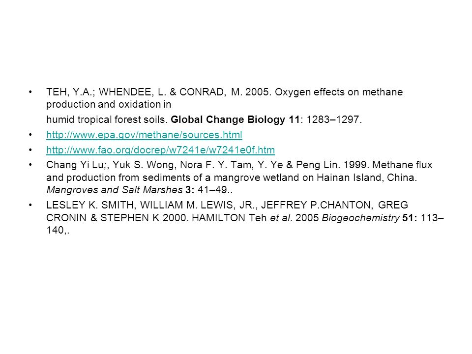 TEH, Y.A.; WHENDEE, L. & CONRAD, M. 2005. Oxygen effects on methane production and oxidation in humid tropical forest soils. Global Change Biology 11: