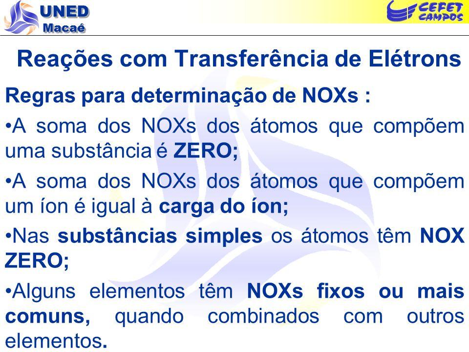 UNED Macaé Reações com Transferência de Elétrons Regras para determinação de NOXs : A soma dos NOXs dos átomos que compõem uma substância é ZERO; A so