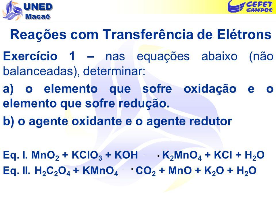 UNED Macaé Reações com Transferência de Elétrons Exercício 1 – nas equações abaixo (não balanceadas), determinar: a) o elemento que sofre oxidação e o
