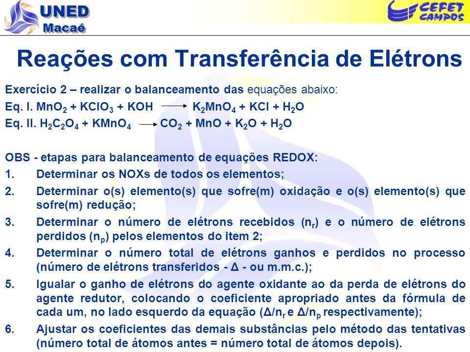 UNED Macaé Reações com Transferência de Elétrons Exercício 2 – realizar o balanceamento das equações abaixo: Eq. I. MnO 2 + KClO 3 + KOH K 2 MnO 4 + K