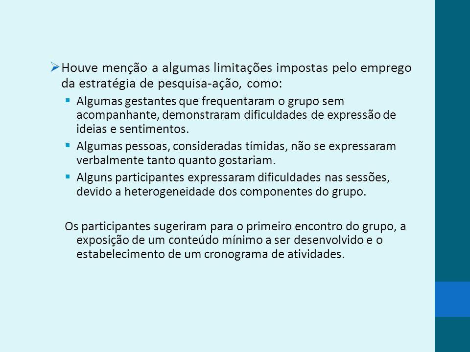 Considerações finais O compartilhamento de experiências, que favorece a constatação de que as pessoas vivenciam situações semelhantes, propicia a compreensão mútua e confere ressonância aos depoimentos.