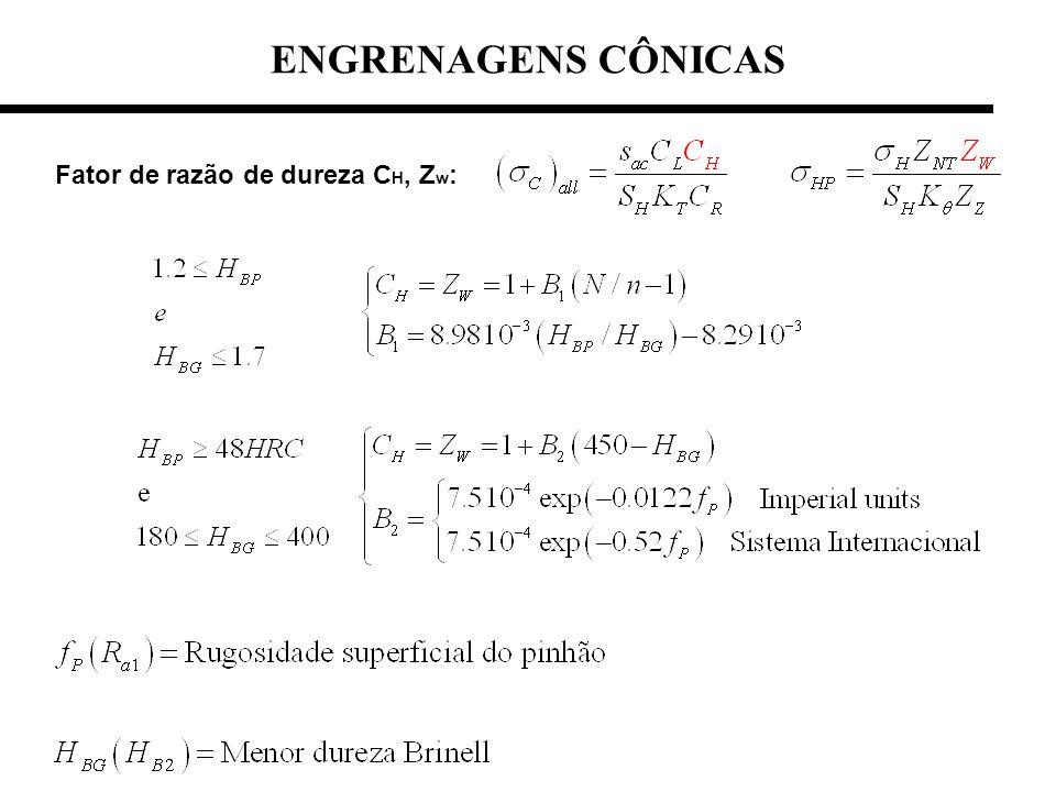 Fator de razão de dureza C H, Z w : ENGRENAGENS CÔNICAS