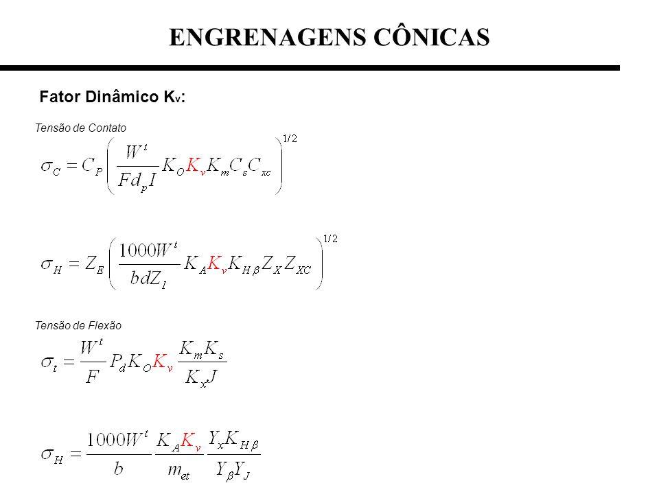 Fator Dinâmico K v : ENGRENAGENS CÔNICAS Tensão de Contato Tensão de Flexão