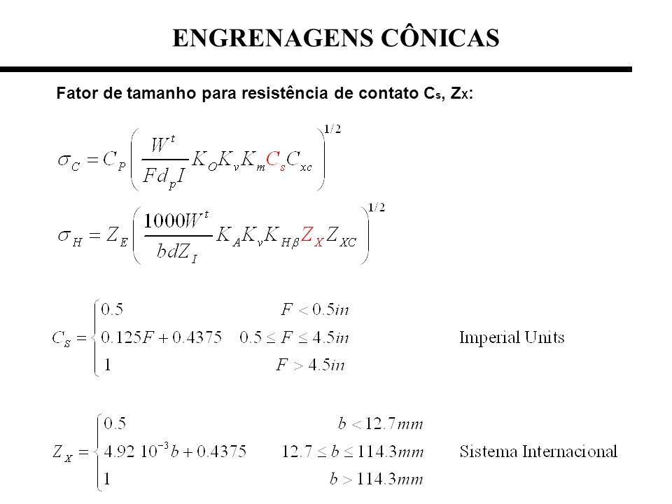 Fator de tamanho para resistência de contato C s, Z X : ENGRENAGENS CÔNICAS