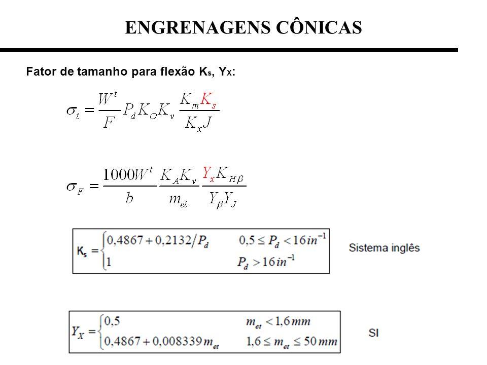 Fator de tamanho para flexão K s, Y X : ENGRENAGENS CÔNICAS