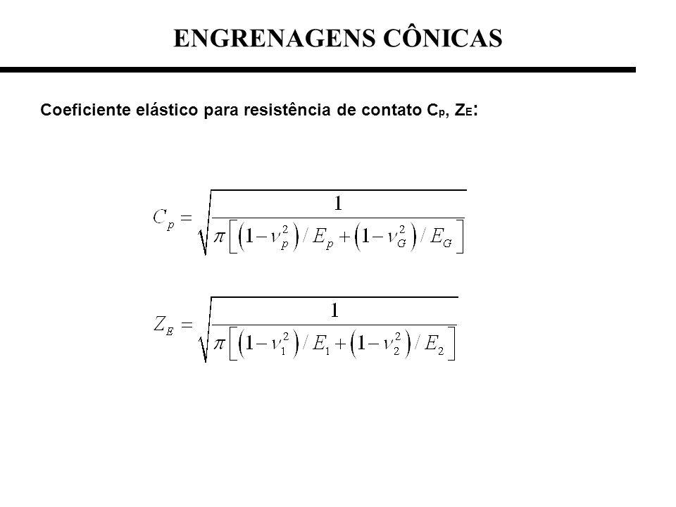 Coeficiente elástico para resistência de contato C p, Z E :