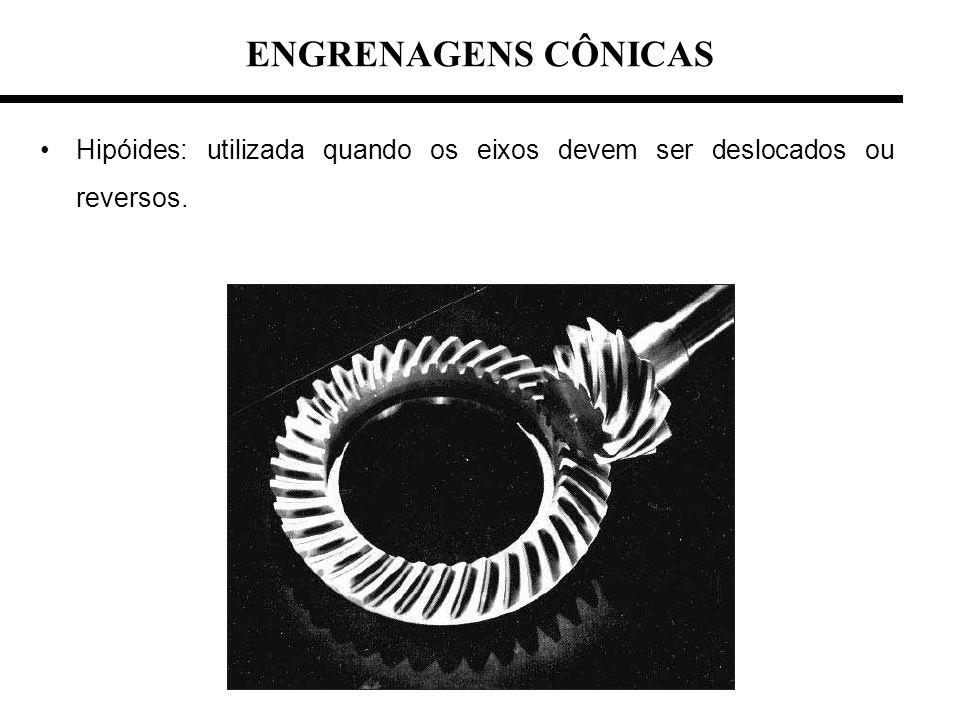 Hipóides: utilizada quando os eixos devem ser deslocados ou reversos. ENGRENAGENS CÔNICAS