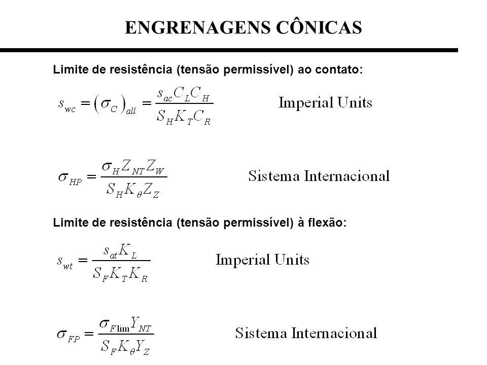 Limite de resistência (tensão permissível) ao contato: Limite de resistência (tensão permissível) à flexão: ENGRENAGENS CÔNICAS