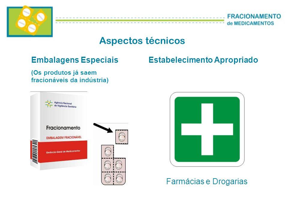 Aspectos técnicos Embalagens Especiais (Os produtos já saem fracionáveis da indústria) Estabelecimento Apropriado Farmácias e Drogarias