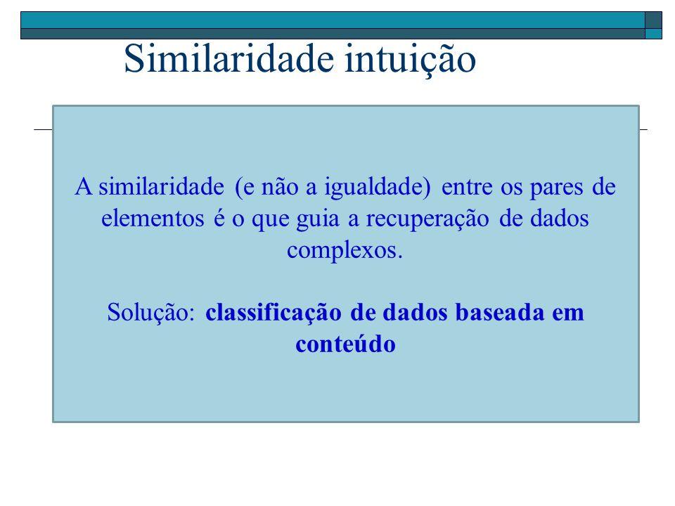 Consultas por similaridade CIDADES DO CONJUNTO DE RESPOSTA: B, C, H CIDADES FORA DO CONJUNTO DE RESPOSTA: D, E, F, G, I, J, K, B A C D E F G H I J K 100 Km 100 Km 70 Km 20 Km 95 Km 110 Km Similaridade – Consulta por Abrangência Ex: quais são as cidades que estão localizadas até 100km de Ribeirão Preto.
