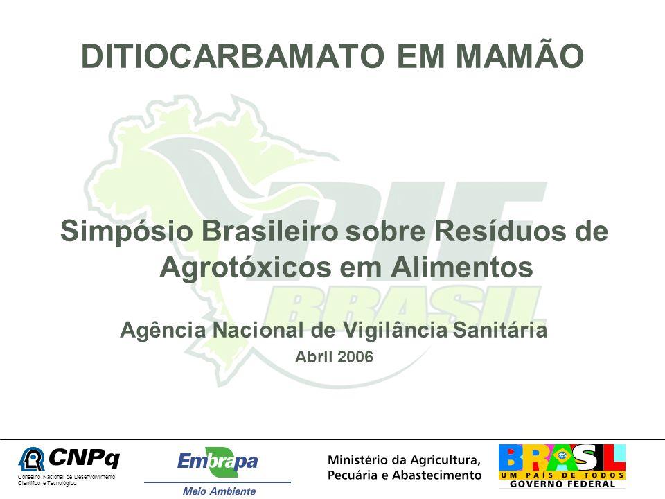 DITIOCARBAMATO EM MAMÃO Simpósio Brasileiro sobre Resíduos de Agrotóxicos em Alimentos Agência Nacional de Vigilância Sanitária Abril 2006 Conselho Na