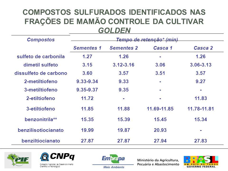 Conselho Nacional de Desenvolvimento Científico e Tecnológico COMPOSTOS SULFURADOS IDENTIFICADOS NAS FRAÇÕES DE MAMÃO CONTROLE DA CULTIVAR GOLDEN Comp