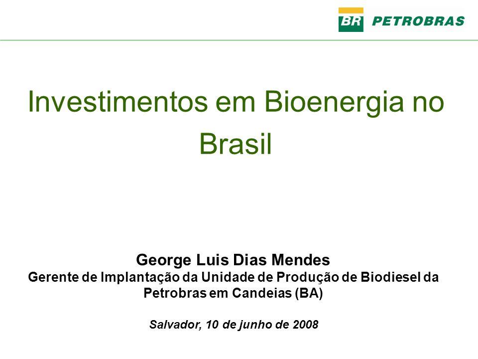 George Luis Dias Mendes Gerente de Implantação da Unidade de Produção de Biodiesel da Petrobras em Candeias (BA) Salvador, 10 de junho de 2008 Investi