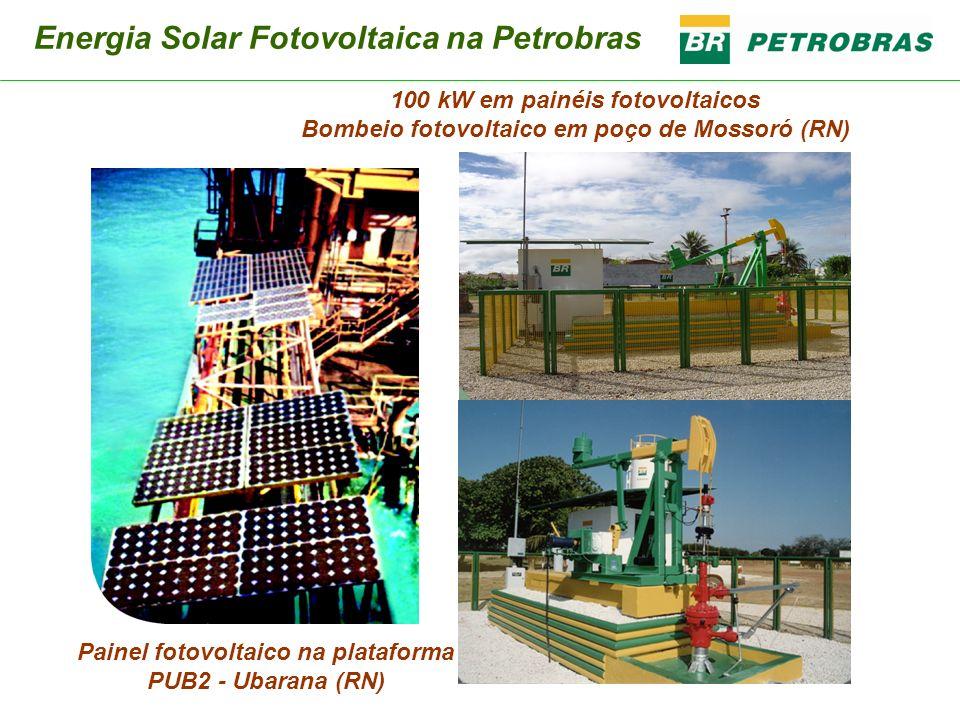 Painel fotovoltaico na plataforma PUB2 - Ubarana (RN) 100 kW em painéis fotovoltaicos Bombeio fotovoltaico em poço de Mossoró (RN) Energia Solar Fotov