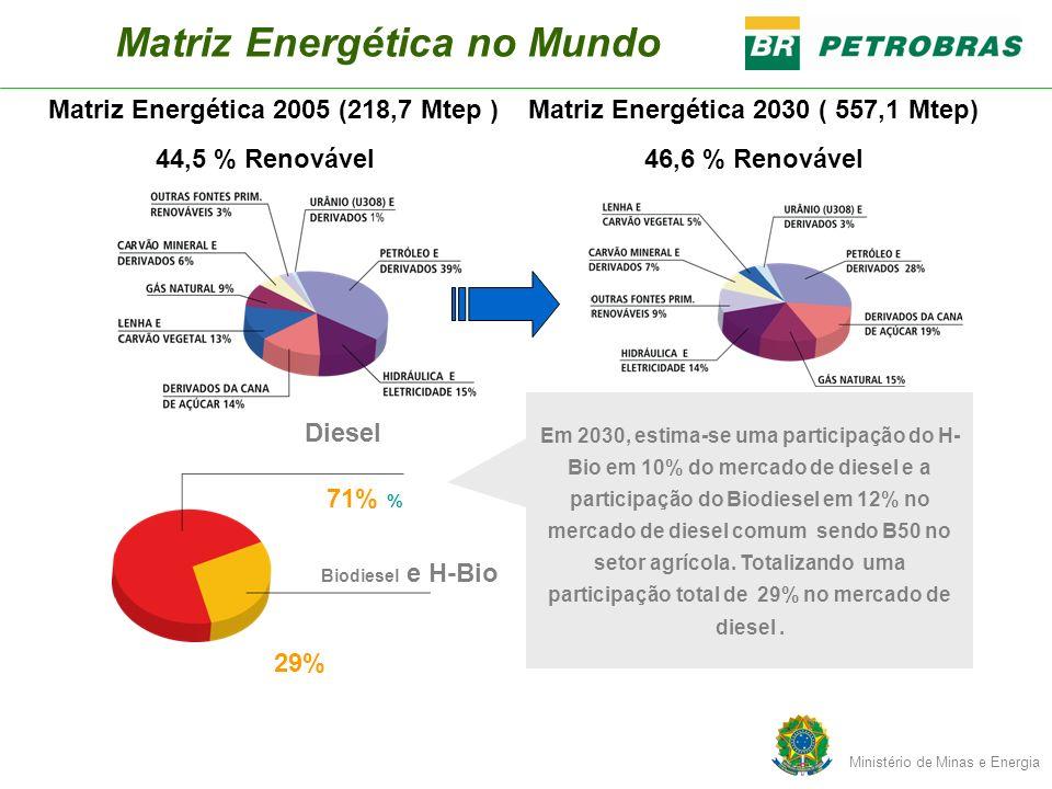 Matriz Energética no Mundo 71% % Em 2030, estima-se uma participação do H- Bio em 10% do mercado de diesel e a participação do Biodiesel em 12% no mer