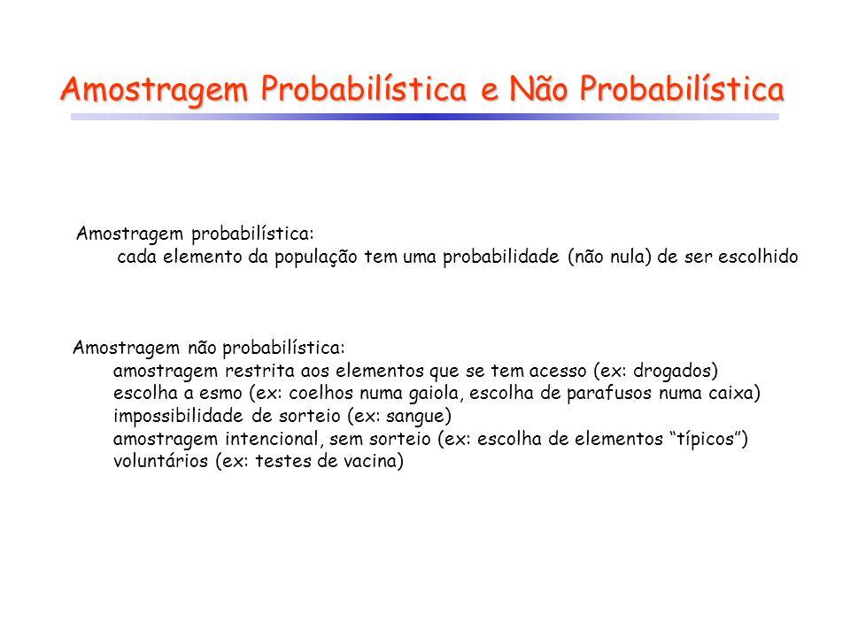 Amostragem Probabilística e Não Probabilística Amostragem probabilística: cada elemento da população tem uma probabilidade (não nula) de ser escolhido