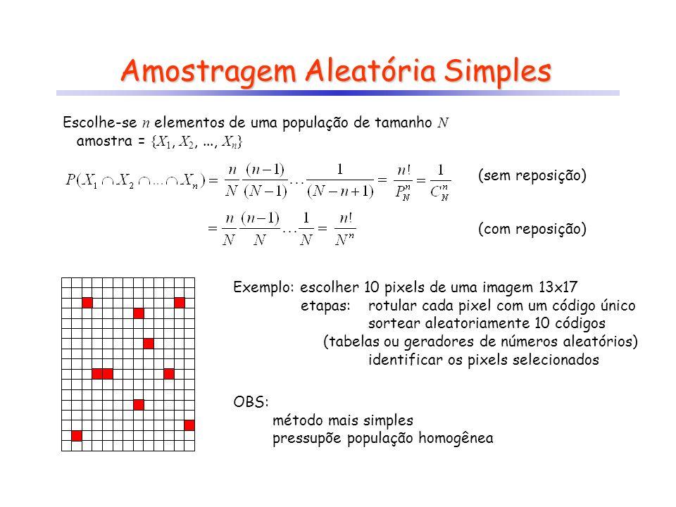 Amostragem Aleatória Simples Escolhe-se n elementos de uma população de tamanho N amostra = {X 1, X 2,..., X n } (sem reposição) (com reposição) Exemp