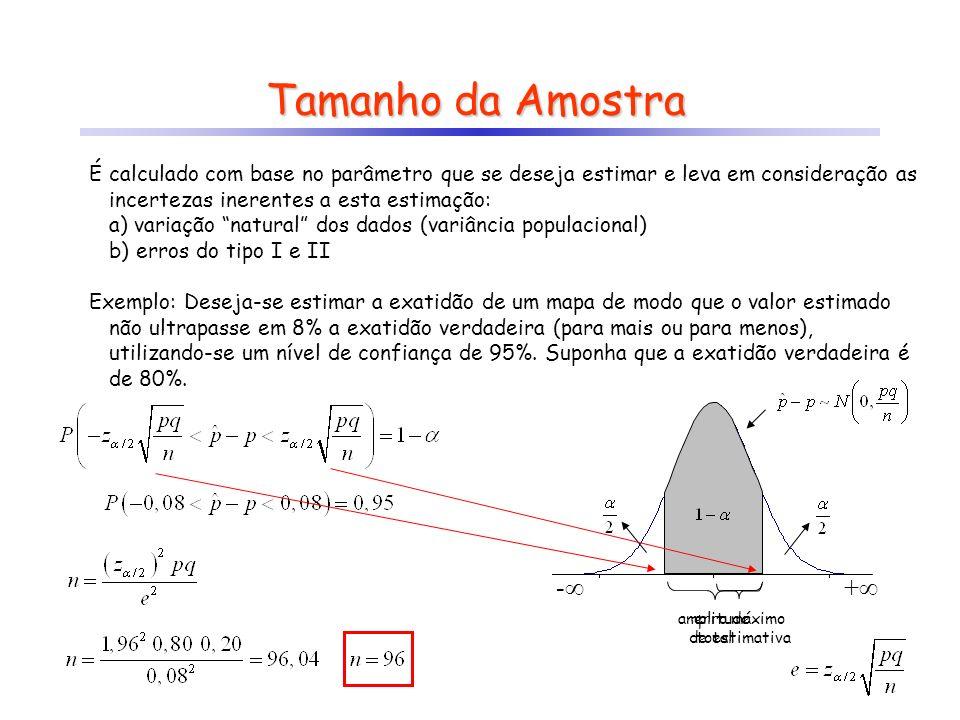 Tamanho da Amostra É calculado com base no parâmetro que se deseja estimar e leva em consideração as incertezas inerentes a esta estimação: a) variação natural dos dados (variância populacional) b) erros do tipo I e II Exemplo: Deseja-se testar se a exatidão de um mapa é no mínimo de 85%, adotando-se 5% de nível de significância.