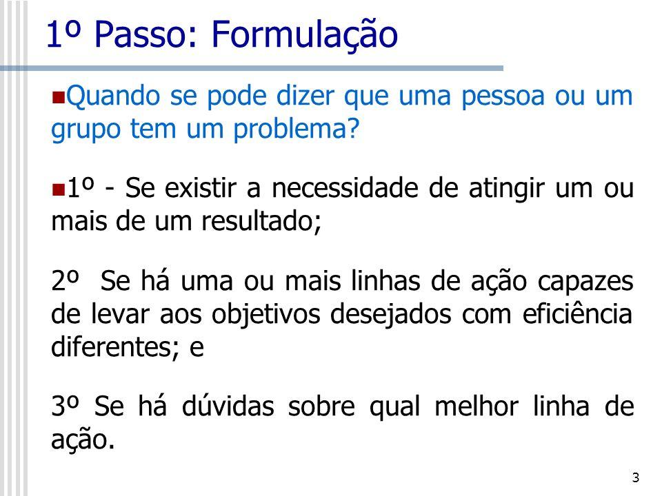 4 1º Passo: Formulação Exemplo de um problema complexo: A escolha da embalagem dentro da cadeia logística.